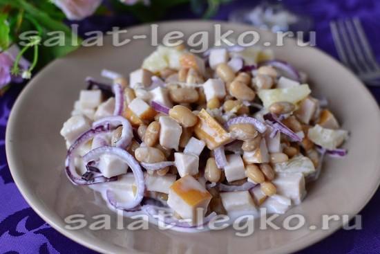 рецепт салата с фасолью и ананасом