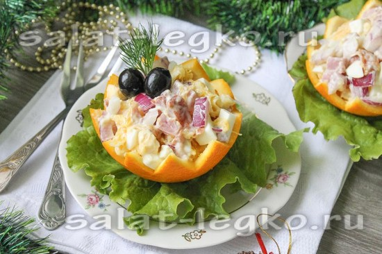 Рецепт салата в тарталетках с ветчиной 103