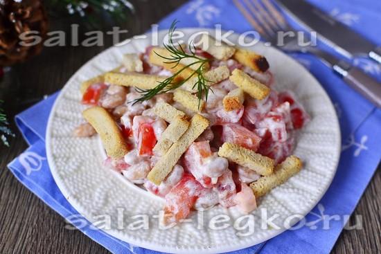 Постный салат с фасолью и сухариками рецепт с