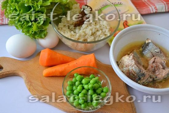 Ингредиенты для приготовления салата с рыбой и горошком