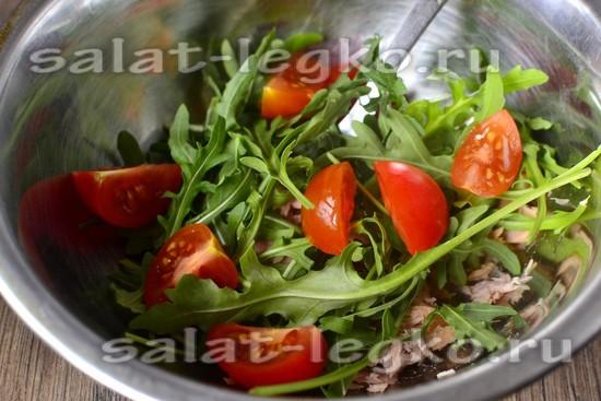 Салат с руколой и тунцом рецепт с