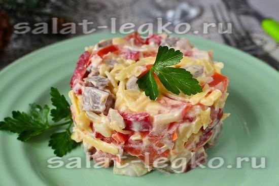 рецепт салата из языка и болгарского перца