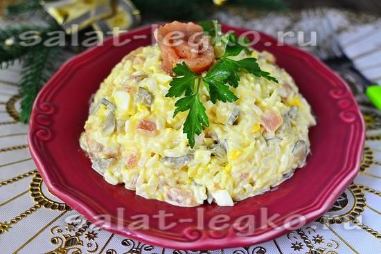 рецепт рисового салата с красной рыбой