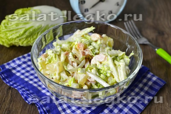 салат из капусты с курицей копченой