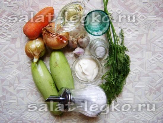 Ингредиенты для приготовления икры из кабачков с майонезом на зиму