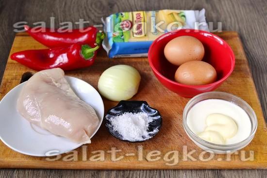 Ингредиенты для приготовления салата с курицей и болгарским перцем