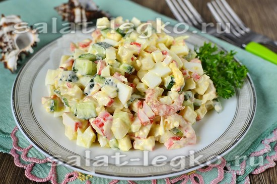 как приготовить салат морской коктейль с креветками и кальмарами крабовыми палочками