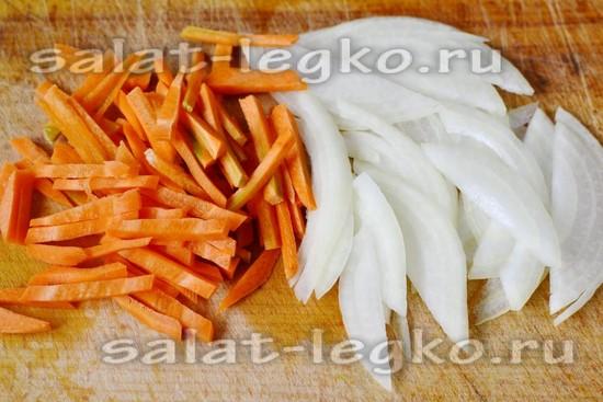 Салат печень морковь соленый огурец с
