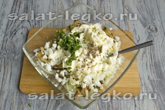 Рецепт салата из баклажанов с яйцами