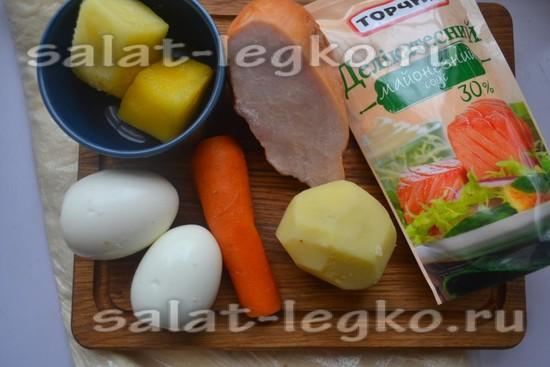 Ингредиенты для приготовления салата с курицей и ананасом в лаваше