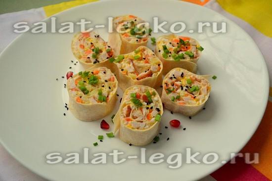 рецепт салата из копчёной курицы и ананасов в лаваше