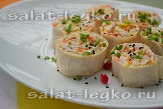 как приготовить салат из копчёной курицы и ананасов в лаваше.