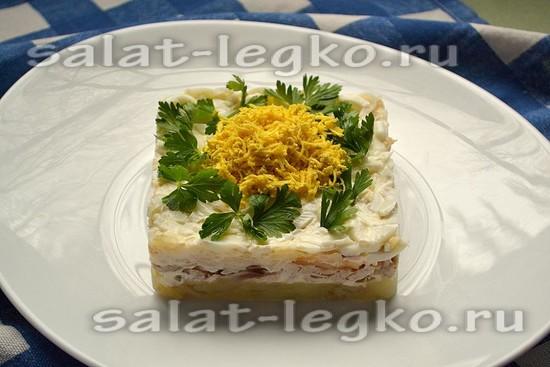 Салат Мимоза со скумбрией: рецепт с фото
