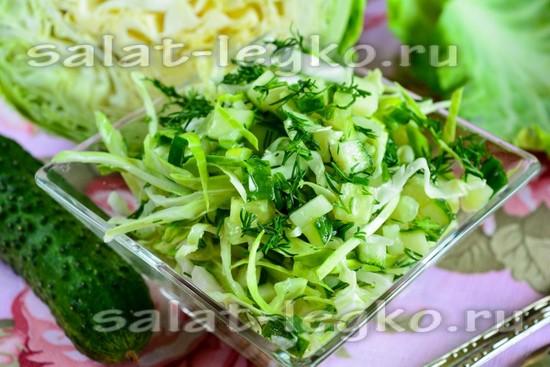 рецепт салата из свежих огурцов и капусты