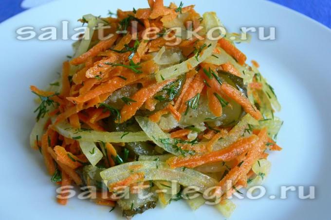 Салат с курицей жареной огурцами и луком