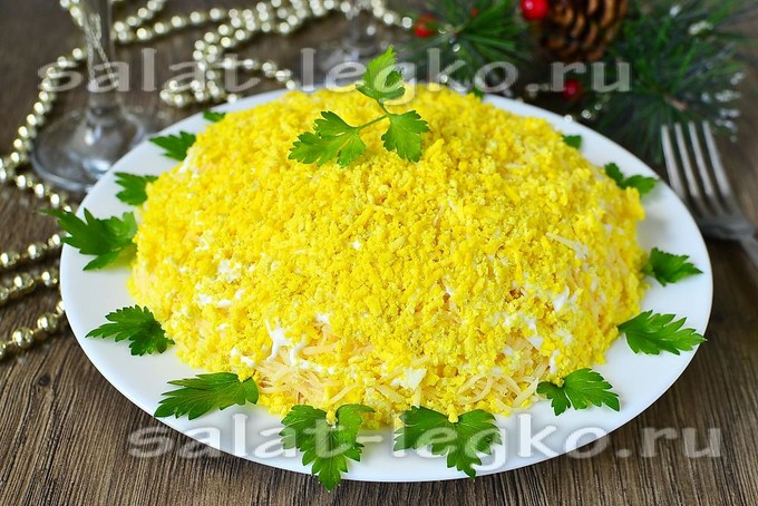 салат мимоза рецепт с консервой пошаговый рецепт с фото