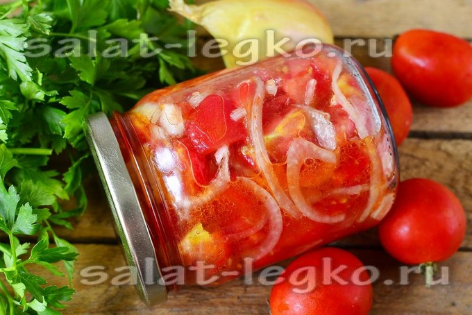 Помидоры с луком на зиму – салат