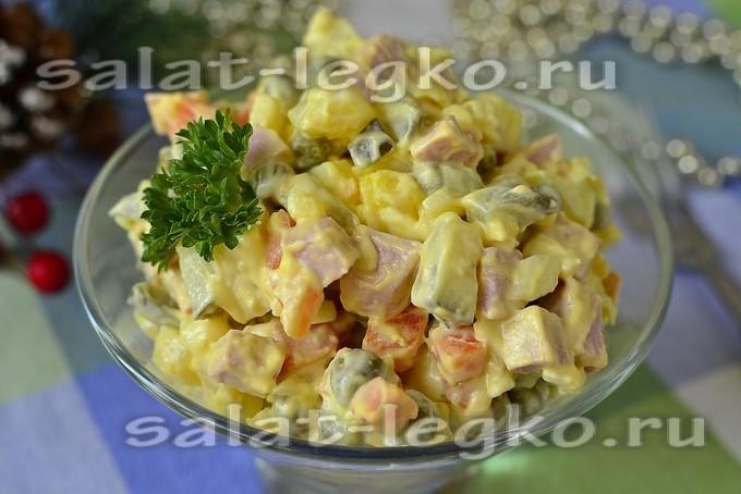 Рецепт салата оливье классический с колбасой с