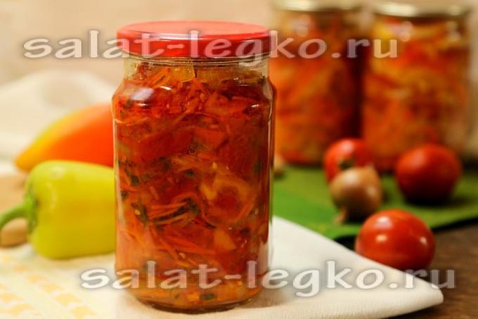 салат из капусты перцев помидор моркови и лука на зиму