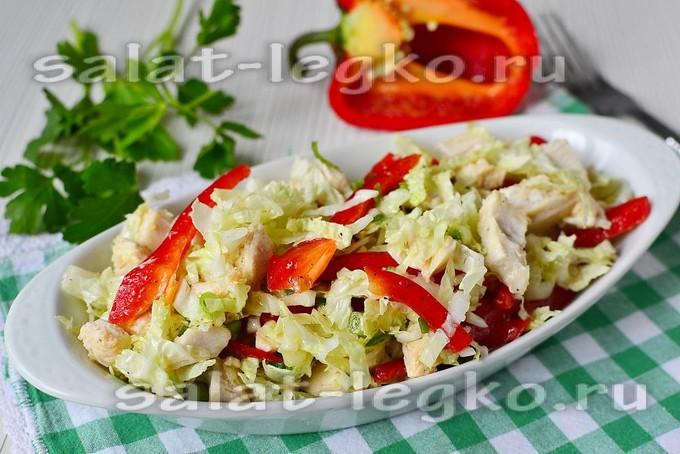 салат из пекинской капусты с курицей красивый и очень вкусный