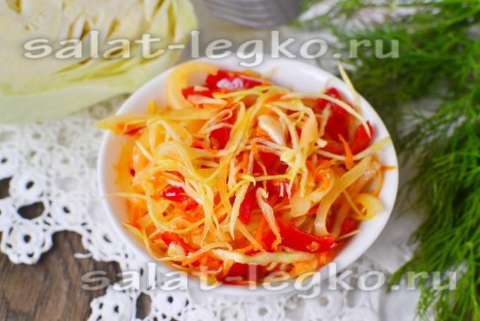 салат из капусты с морковью с перцем с уксусом и сахаром