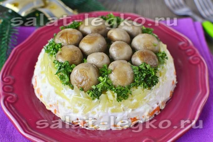 салат лесная поляна рецепт с фото пошагово с шампиньонами