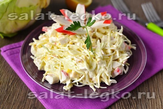 Салат с крабовыми палочками кукурузой и капустой рецепт с очень вкусный