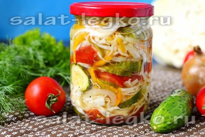 салат из огурцов помидор капусты на зиму пальчики оближешь