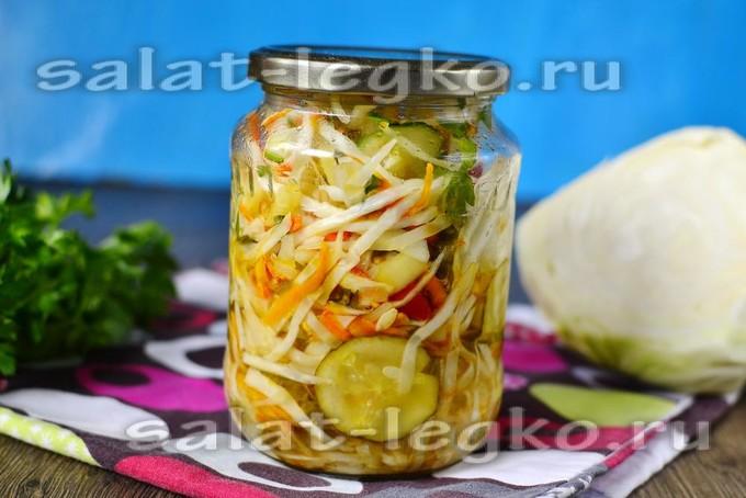 салат на зиму капуста лук перец помидоры