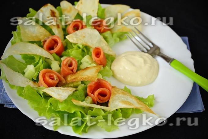Салат из красной рыбы лаваша