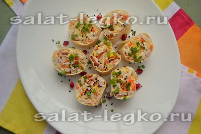 Салат из копченой курицы и ананасов в лаваше