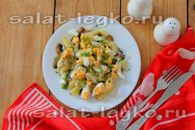 Жареные грибы с яйцами салат