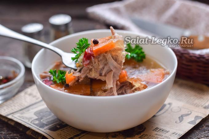 холодец из свиных ножек и рульки рецепт с фото пошагово
