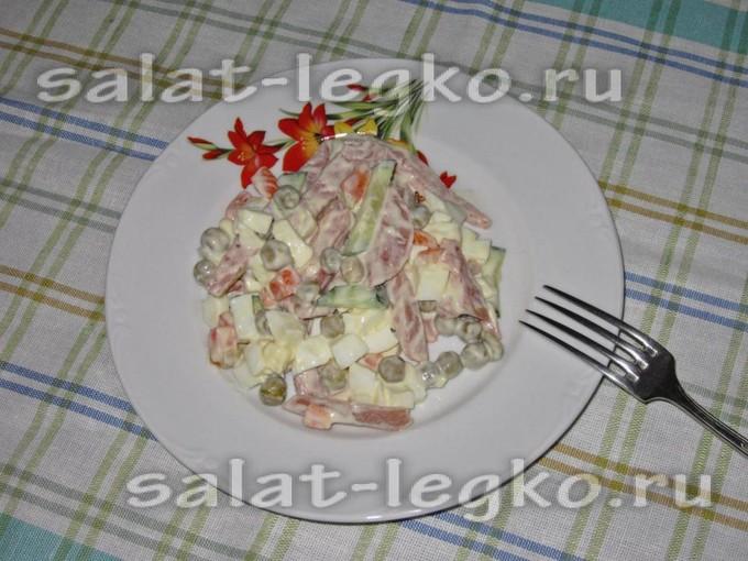 Салат с горошком, яйцами и колбасой