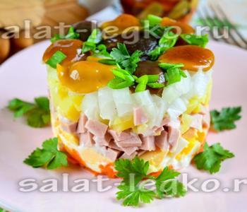 грибная поляна салат рецепт с фото с опятами и