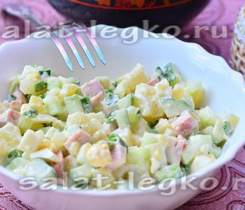 Салат с вареной колбасой и огурцами «Легкий»