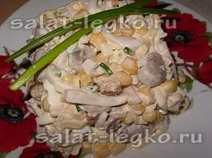 Рецепты салатов с кальмарами