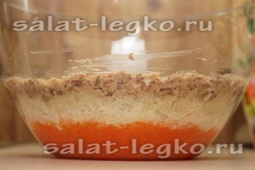 слой сардины в салате