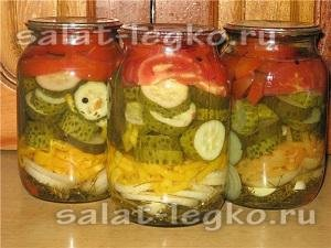 Салат с помидорами и огурцами на зиму