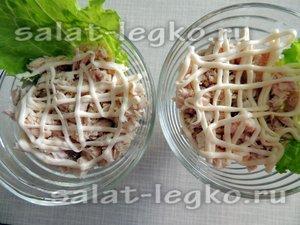 Салат курица грибы огурец чернослив