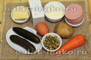 Будем использовать следующие продукты для приготовления новогоднего оливье