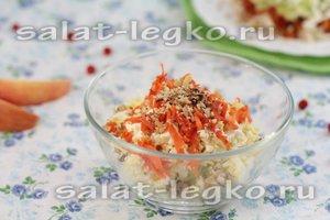 рецепт слоеного салата с курицей и курагой