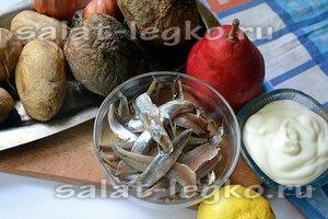 Ингредиенты для приготовления салата с хамсой