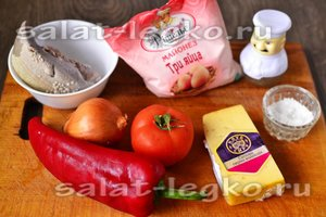 Ингредиенты для пригот овления салата из болгарского перца и языка
