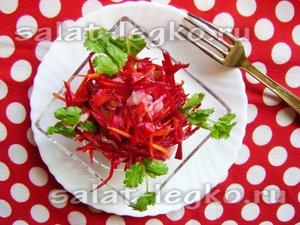 Диетический салат со свежей свеклой и кислой капустой