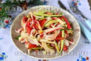 Лёгкий салат с крабовыми палочками без майонеза