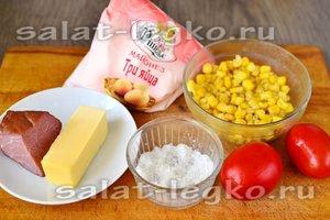 Ингредиенты для приготовления салата с ветчиной