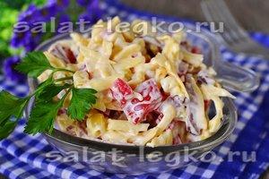 рецепт салата с ветчиной за 5 минут