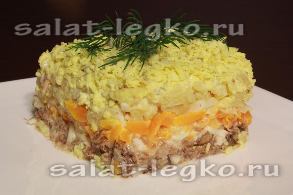 Салат мимоза со шпротом и с рисом