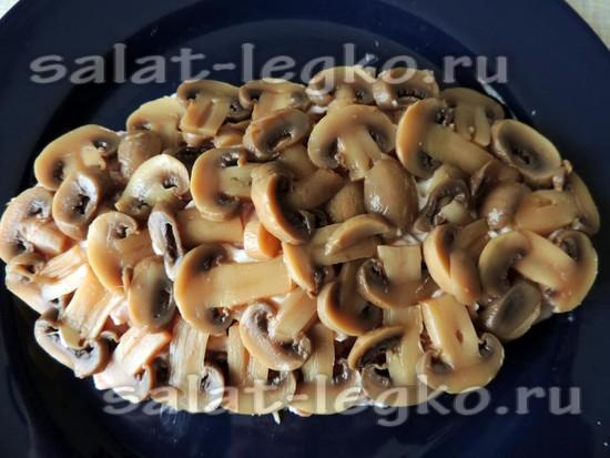 выложить тонкие пластины грибов